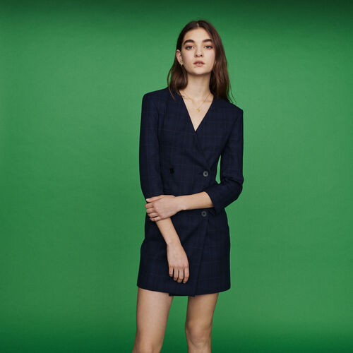 Vestito tailleur a quadri : Vestiti colore Blu Marino
