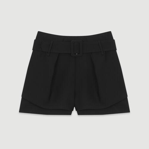 Pantaloncini trompe l'oeil con pinces : Gonne e shorts colore Nero