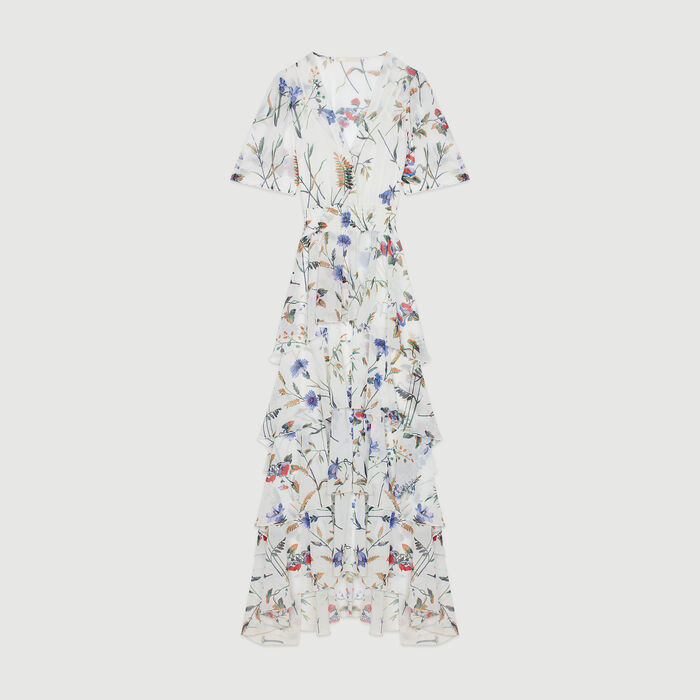 Printed long dress with ruffles : Campagna SS19 colore IMPRIME