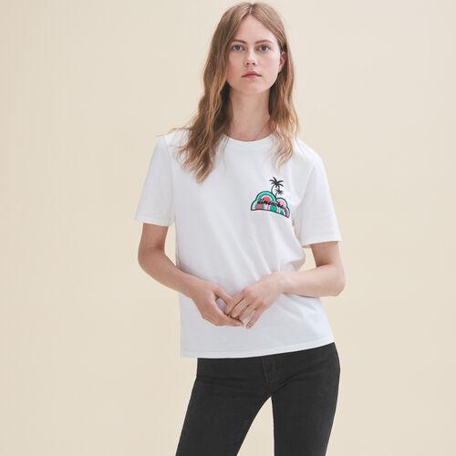 T-shirt ricamata Domenica - T-Shirts - MAJE