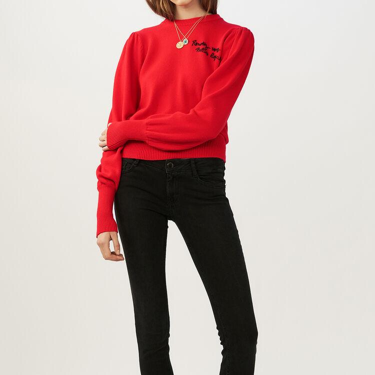 Pull in maglia con ricami : Maglieria colore ROUGE