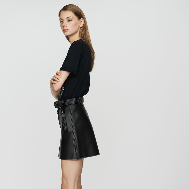 Gonna a trapezio in pelle : Gonne e shorts colore Nero