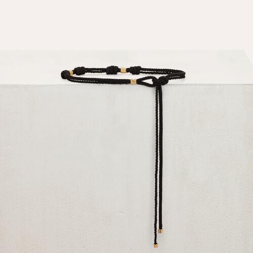 Cintura corda con borchie martellate : Cinture colore Nero