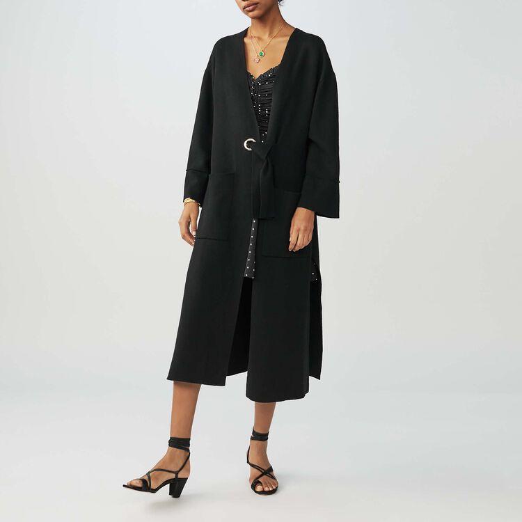 Gilet lungo con cintura : Maglieria colore Nero