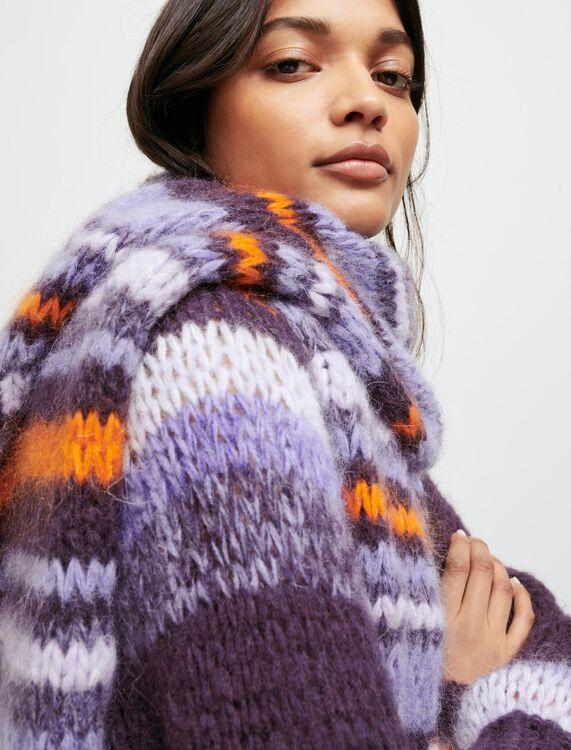 Sciarpa lunga in maglia a righe - Scialli & Poncho - MAJE