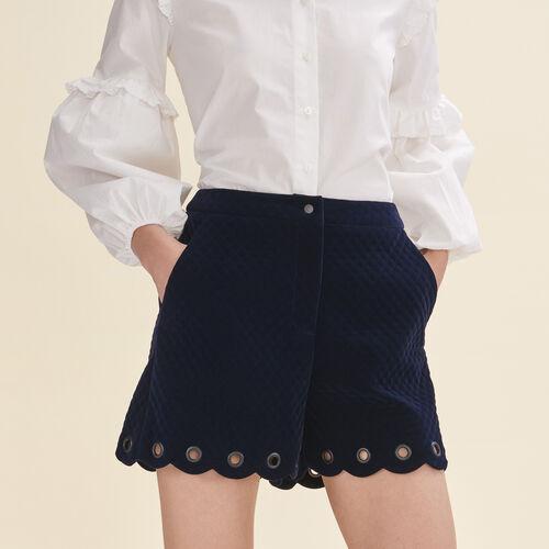Short in velluto matelassé : Gonne e shorts colore Blu Marino