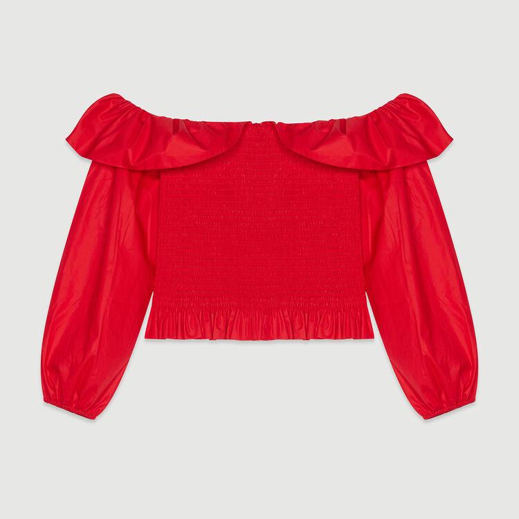 Top ricamato a punto smock con spalle : Tops e Camicie colore Rosso