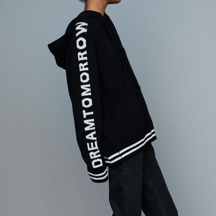 Pull oversize con cappuccio e scritta : Maglieria colore Nero