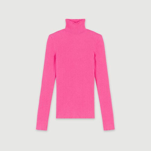 Pull a coste con collo montante : Pullover e cardigan colore Rosa Fluorescente
