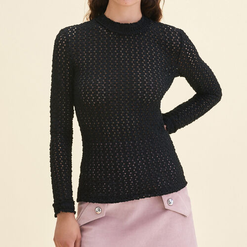 Top con mix di ricami : Tops colore Nero