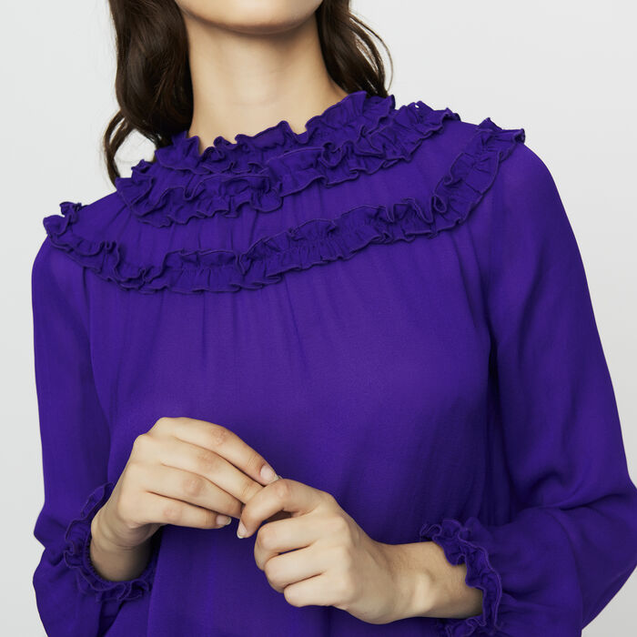 Top in crêpe con volant : Tops colore Violetto