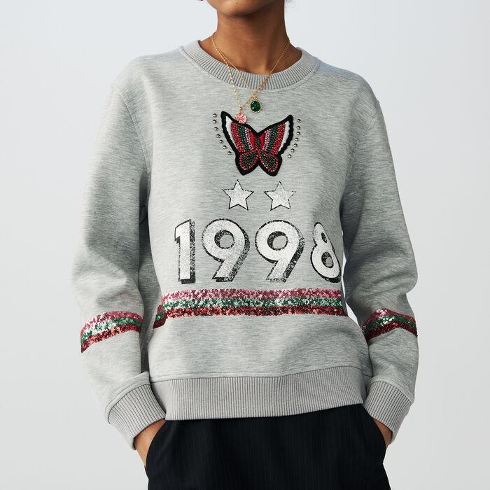 Felpa in cotone con slustrini e ricami : Sweatshirts colore Grigio