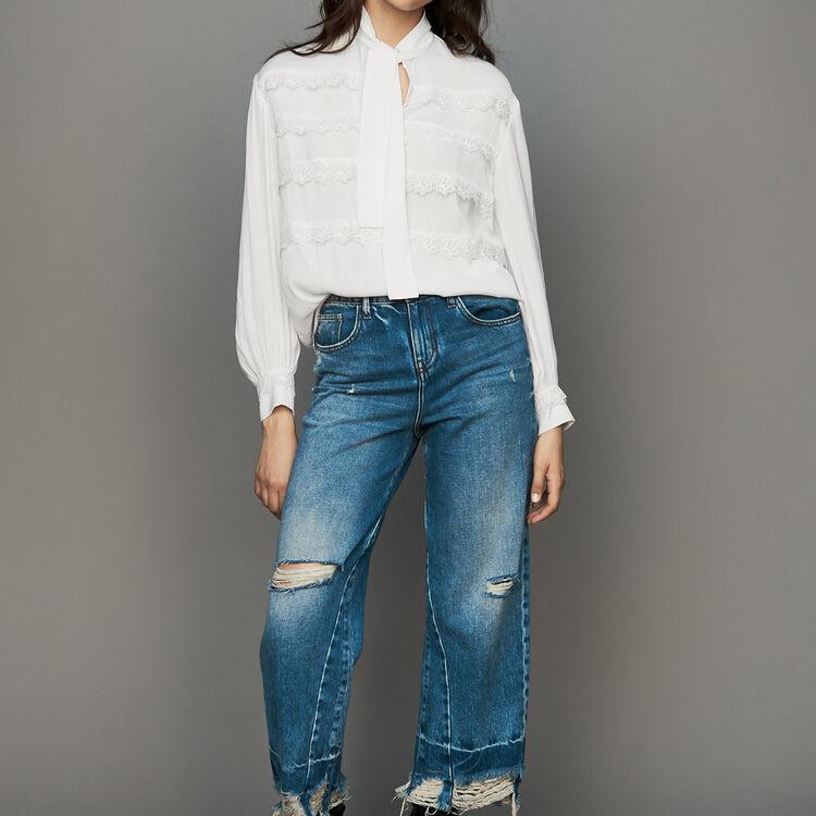 Camicetta con volant ricamati : Camicie colore Bianco