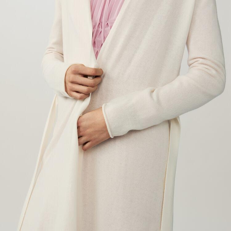 Cardigan lungo con cintura : Maglieria colore ECRU