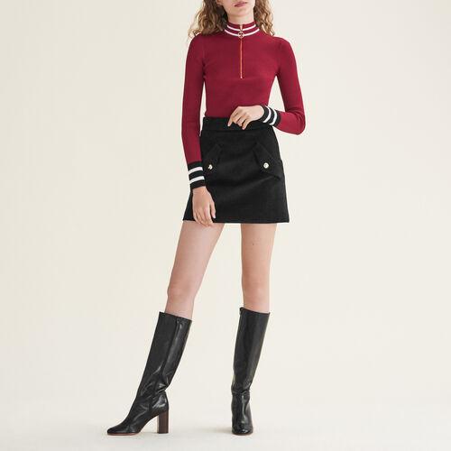 Pullover in maglia sottile con zip : Pullover e cardigan colore Bordeaux