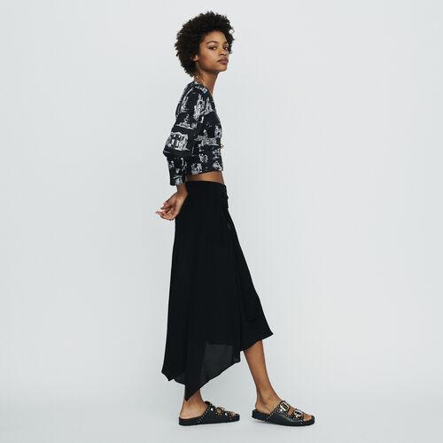 Gonna lunga asimmetrica : Gonne e shorts colore Nero