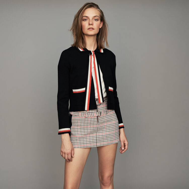 Short cardigan with contrasting stripes : Maglieria colore Nero