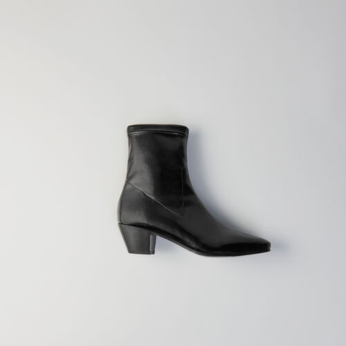 Heeled smooth leather booties : Stivali e Stivaletti colore Nero