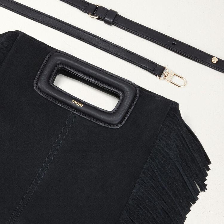 Borsa a M con frange in pelle : Nuova collezione colore Nero