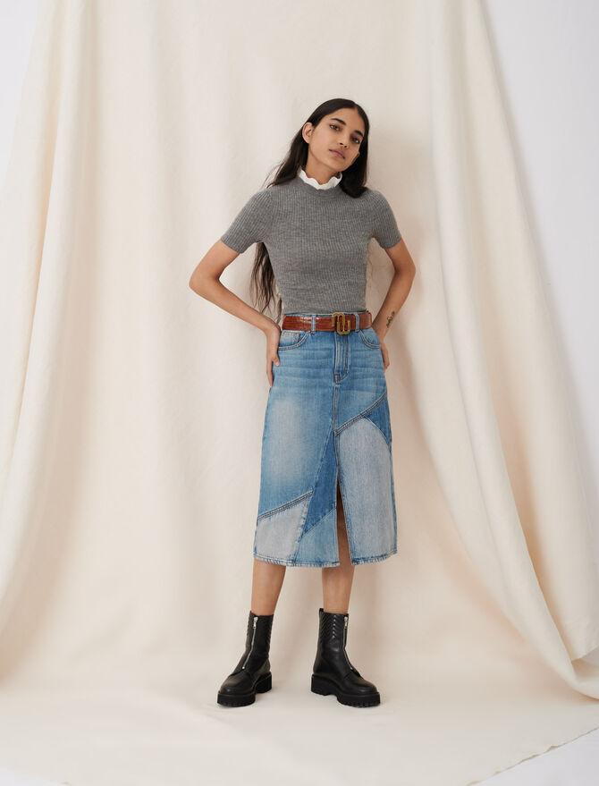 Gonna midi di jeans con spacco e toppe - eco-sostenibile - MAJE