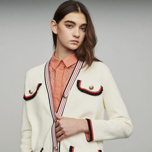 Giacca lunga in maglia : Pullover e cardigan colore ECRU