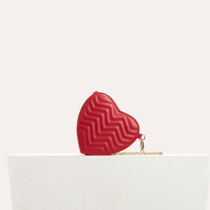 Borsa a tracolla in pelle matelassé : Capi Essenziali colore Rosso