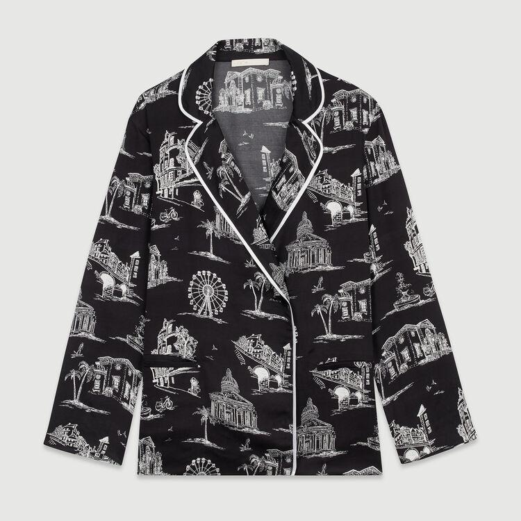 Camicia con stampa Parigi : Tops e Camicie colore NERO