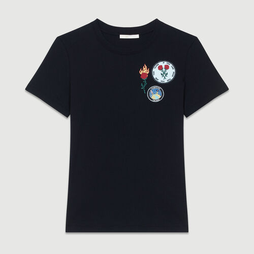 Tee-shirt in cotone con patch : T-Shirts colore Nero