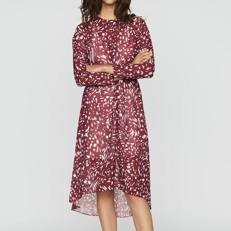Vestito lungo plissettato con ricami : Vestiti colore IMPRIME