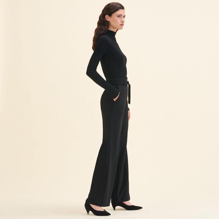 Pantaloni larghi a vita alta : Pantaloni colore Nero