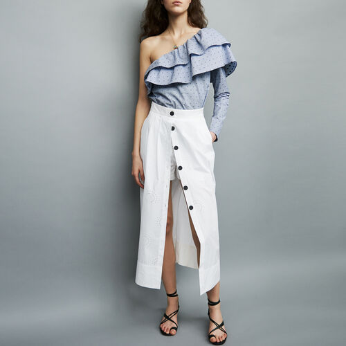 Gonna-short lunga in cotone : Gonne e shorts colore Bianco