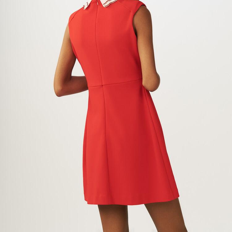 Lace pleated dress : Vestiti colore ROUGE