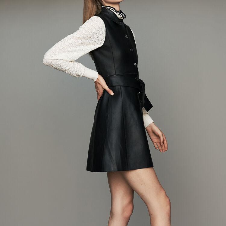 Scamiciato senza maniche in pelle : Vestiti colore Nero