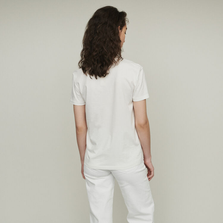 Tee-shirt stampata con ricami : T-Shirts colore Bianco