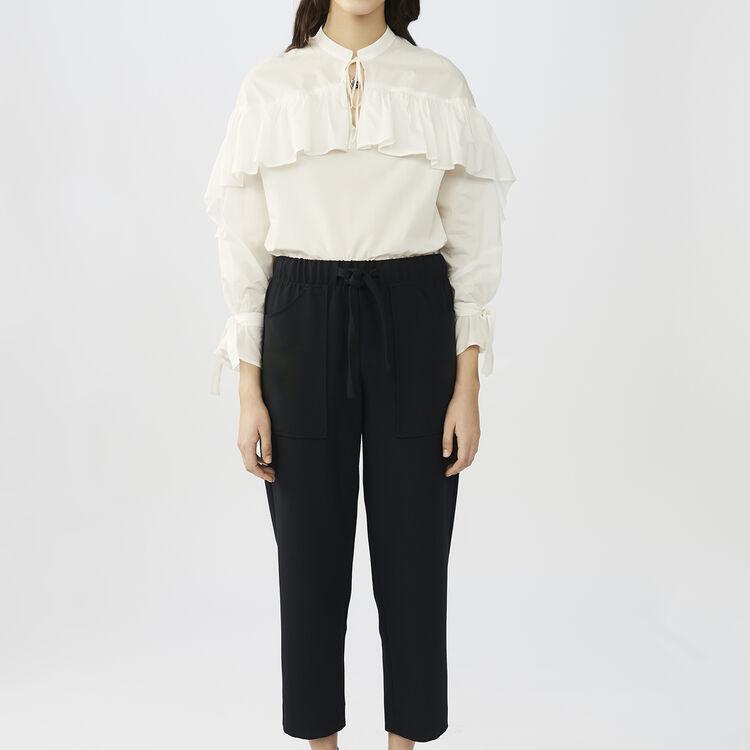 Pantaloni larghi in crêpe : Pantaloni colore Blu Marino
