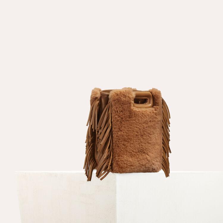 Mini-borsa M in pelle e pelliccia : M Mini colore Beige