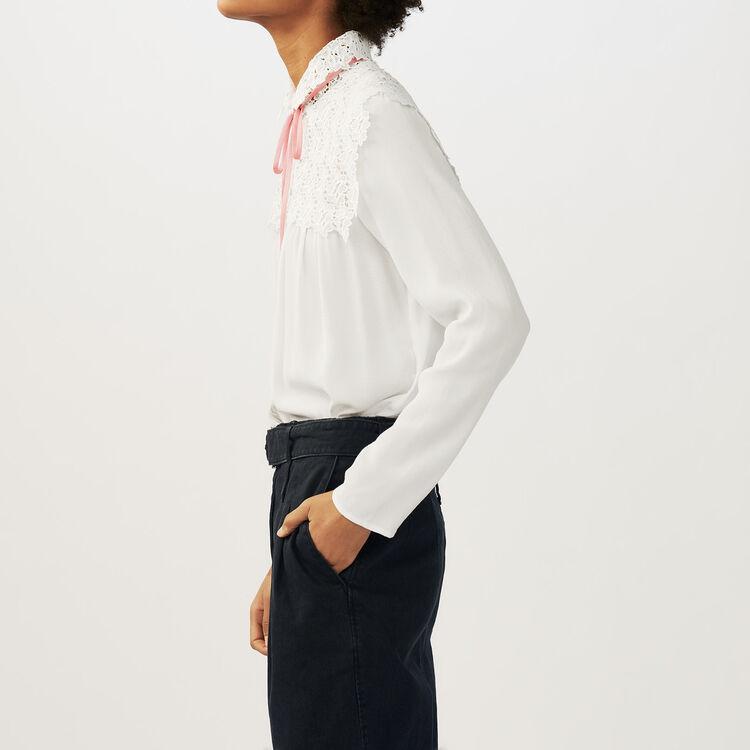Camicetta in crêpe e pizzo : Camicie colore Ecru