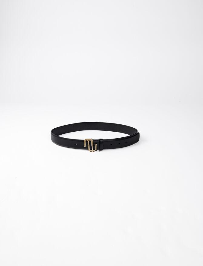 Cintura in pelle e fibbia con monogramma - Cinture - MAJE