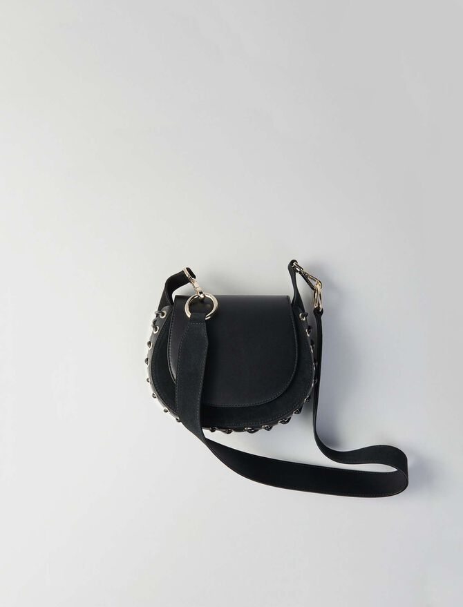 Laceup leather and suede Gyps PM handbag - Altre M - MAJE