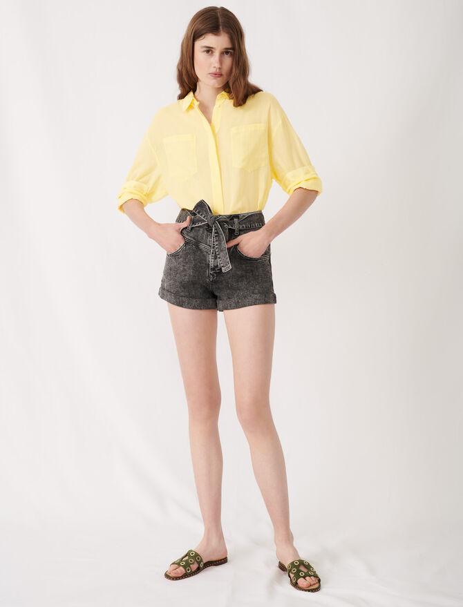 Short delavè con cintura - Gonne e shorts - MAJE