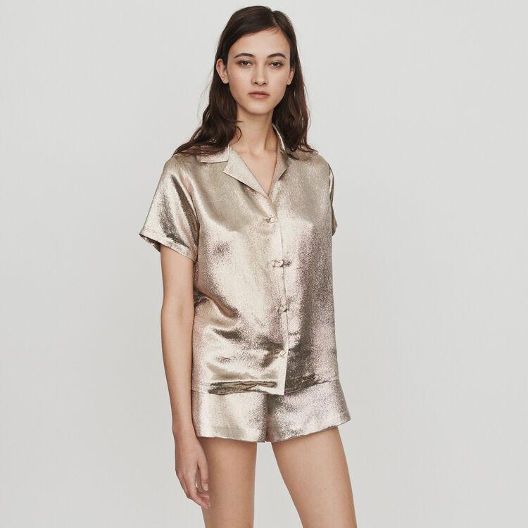 Camicia in misto seta stile pigiama : Tops e Camicie colore Oro