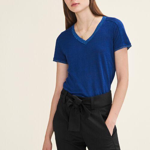 T-shirt con dettagli in lurex : T-shirts colore Blu