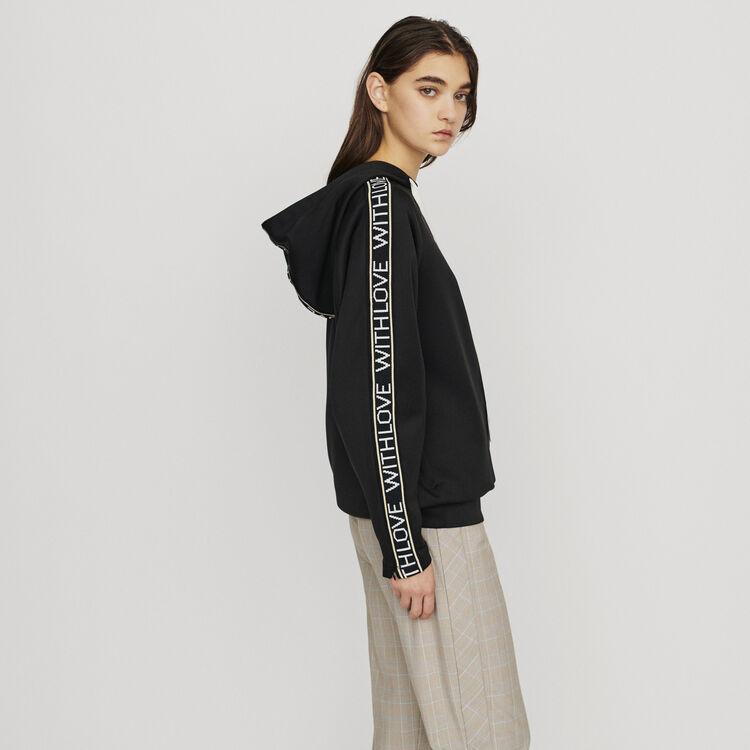 Felpa con cappuccio e bande messaggio : Pullover e cardigan colore Nero