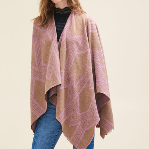 Poncho con stampa M : Accessori colore Rosa Tenue