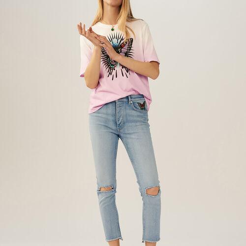 Tee-shirt con farfalla ricamata : T-shirts colore LILA