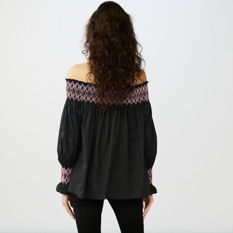 Smocked cold shoulder top : Tops colore Nero
