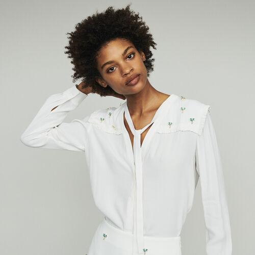 Blusa in crêpe con palme gioiello : Tops e Camicie colore ECRU