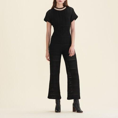 Tuta pantalone in maglia : Pantaloni colore Nero