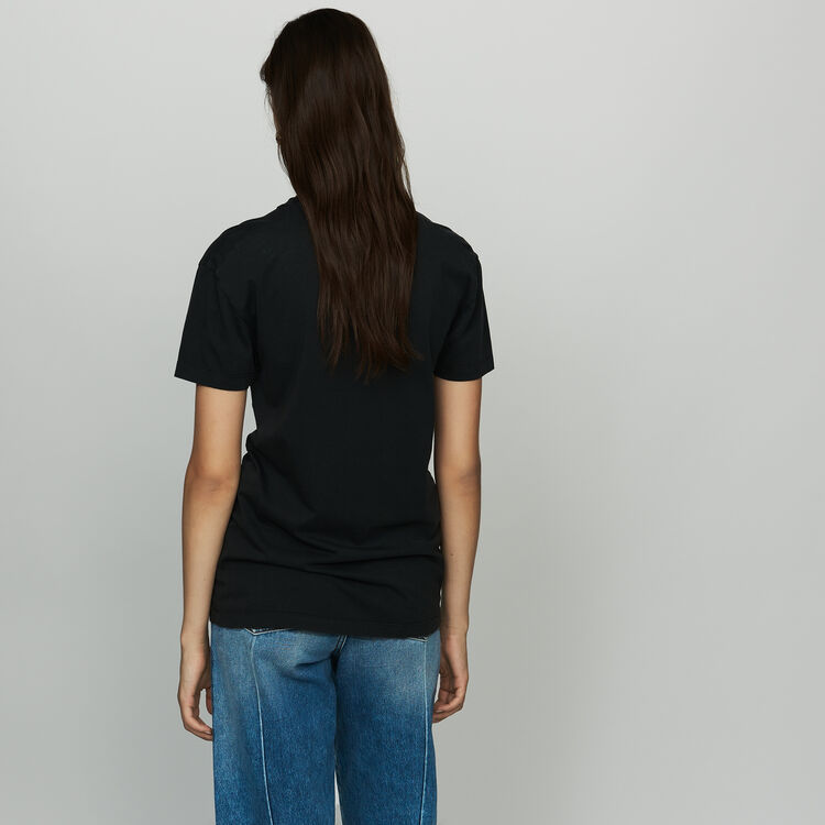 Tee-shirt stampata in cotone : T-Shirts colore Nero