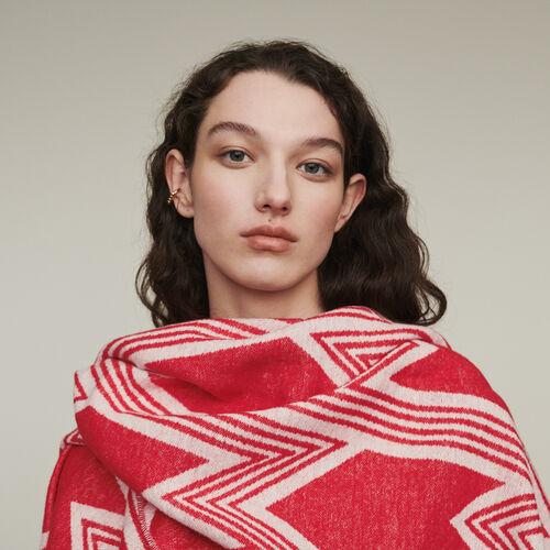 Poncho con motivi M art decò : Scialli & Poncho colore Rosso